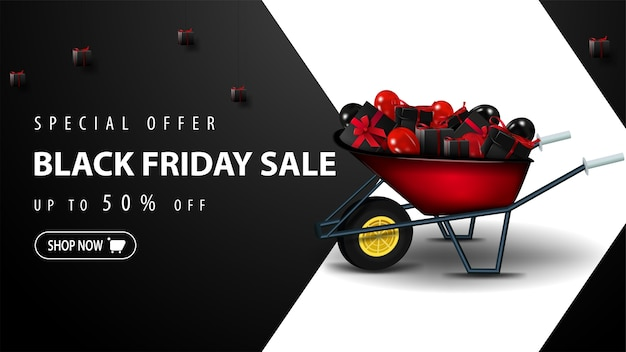 Special offer, black friday sale, up to 50% off, black discount template for website with large white arrow, wheelbarrow with presents and button