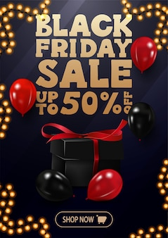 Special offer, black friday sale, up to 50% off, vertical blue discount banner with large golden offer, red and black balloons, button and garland frame