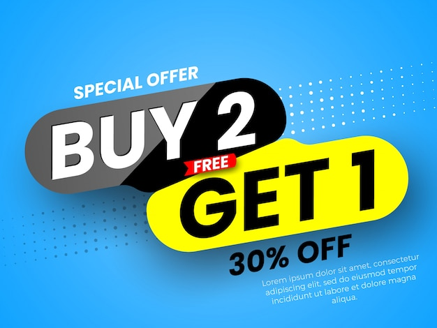 Special offer buy 2, free get 1 sale banner.