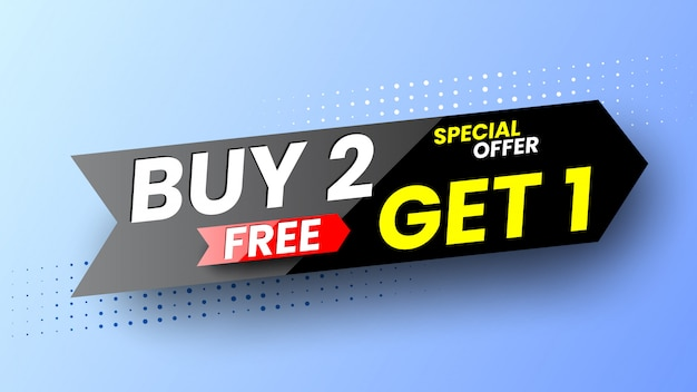 Special offer buy 2, get 1 free banner.