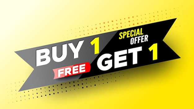 Special offer buy, free get sale banner.
