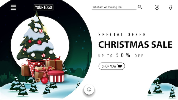 Special offer, christmas sale, beautiful discount banner foe website with winter landscape and christmas tree in a pot with gifts