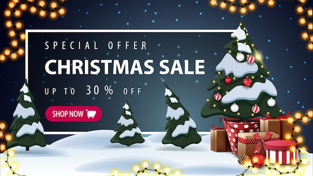 Special offer, christmas sale, beautiful discount banner with cartoon winter landscape on background, garland, christmas tree in a pot with gifts and white frame with offer behind the snowdrifts