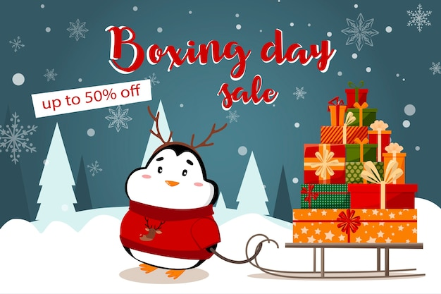 Special offer christmas sale beautiful discount flyer with santa claus and deer