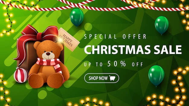Special offer, christmas sale, beautiful green discount banner