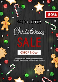 Special offer christmas sale discount, big seasonal sale, xmas banner with holiday sweets.