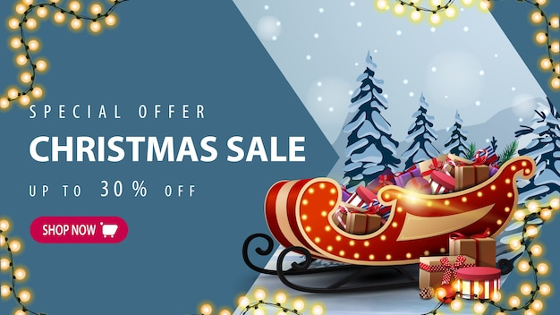 Special offer, christmas sale, up to 30 off, discount banner with garland, pink button, arrow, santa sleigh with presents and winter landscape