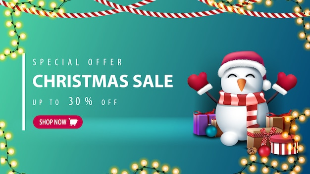 Special offer, christmas sale, up to 30% off, green discount banner with pink button, garlands and snowman in santa claus hat with gifts