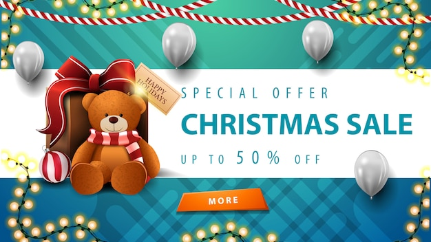 Special offer, christmas sale, up to 50% off, beautiful blue and wite discount banner with garlands, white balloons, button and present with teddy bear