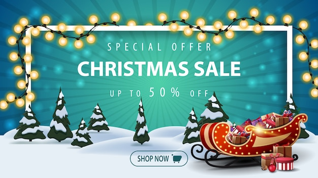 Special offer, christmas sale, up to 50% off, beautiful discount banner with cartoon winter landscape with pines and santa sleigh with presents