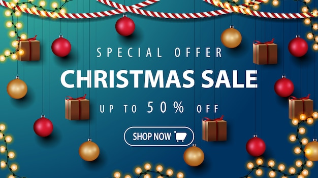 Special offer, christmas sale, up to 50% off, beautiful discount banner with christmas decor. template with wall with christmas decor