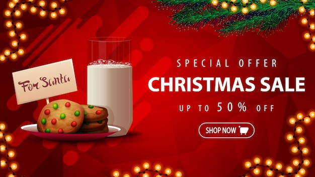 Special offer, christmas sale, up to 50% off, beautiful red discount banner with christmas tree branches, garland and cookies with a glass of milk for santa claus