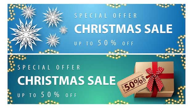 Special offer, christmas sale, up to 50% off, blue and green horizontal discount banners with paper snowflakes and presents with price tag