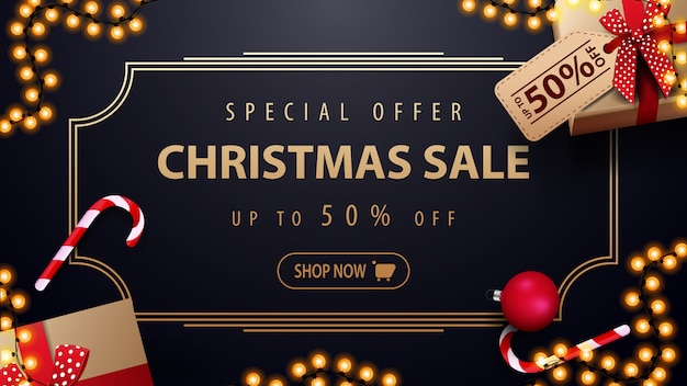 Special offer christmas sale up to 50% off dark blue discount banner with garland