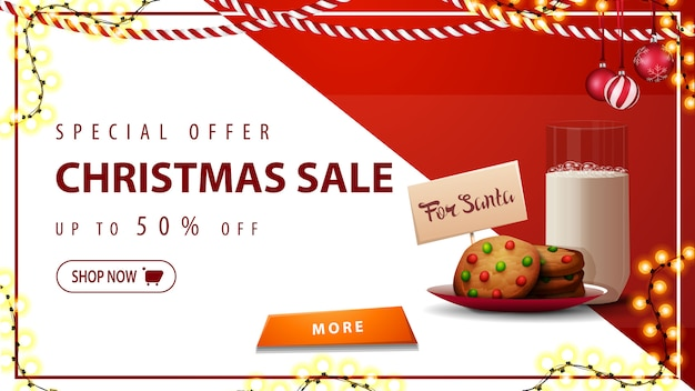 Special offer, christmas sale, up to 50% off, horizontal white and red discount banner with garlands, button and cookies with a glass of milk for santa claus