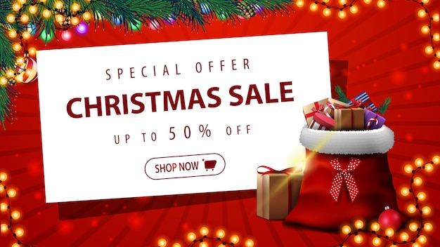 Special offer, christmas sale, up to 50% off, red discount banner with garland, christmas tree, white paper sheet and santa claus bag with presents