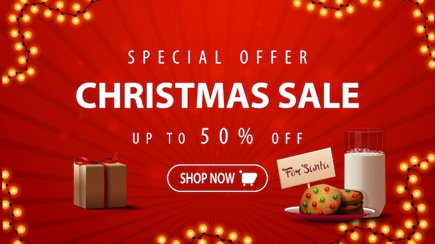 Special offer, christmas sale, up to 50% off, red discount banner with garland, present and cookies with a glass of milk for santa claus