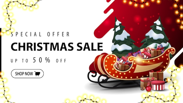 Special offer, christmas sale, up to 50% off, red and white discount web banner with liquid abstract shape on background, garland frame and santa sleigh with pile of presents