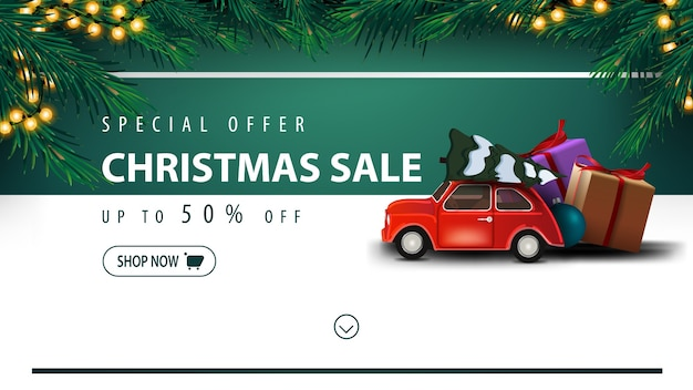 Special offer, christmas sale, up to 50 off, white and green discount banner with button, frame of christmas tree, garland, horizontal stripe and red vintage car carrying christmas tree