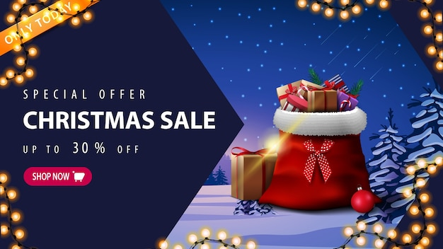 Специальное предложение, рождественская распродажа, скидка до 30, баннер со скидкой с гирляндой, розовая пуговица, стрелка, сумка санта-клауса с подарками и зимний пейзаж