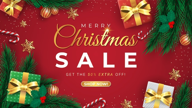 Специальное предложение, рождественская распродажа, скидка до 50%, красивый красный баннер со скидкой
