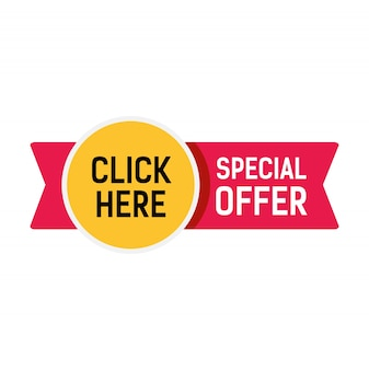 Special offer, click here lettering on red ribbon with yellow sticker.