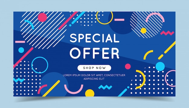Special offer colorful banner with trendy abstract geometric elements and bright background.