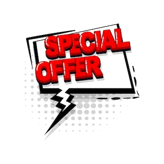 Special offer discount comic red text collection sound effects pop art style vector speech bubble