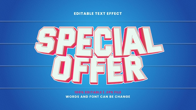 Special offer editable text effect in modern 3d style