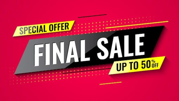 Special offer final sale banner on red background.  illustration.