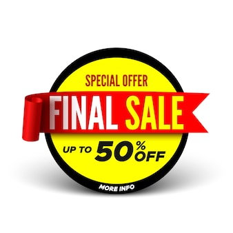 Special offer final sale banner with red ribbon.