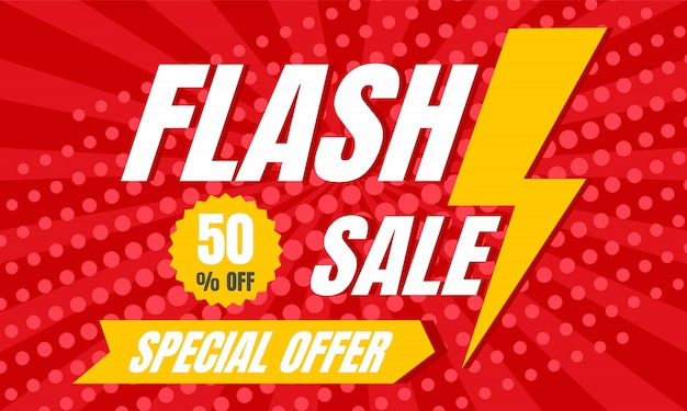 Special offer flash sale concept banner, flat style