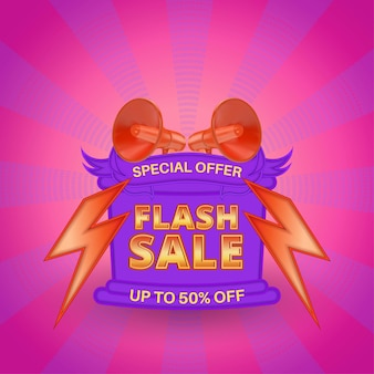 Special offer flash sale social media promotion with text place and sunburst pattern background
