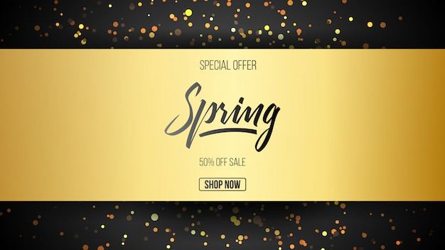 Special offer gold spring sale background with hand lettering font