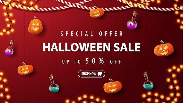 Special offer, halloween sale, red discount banner with pumpkins jacks and flask of potion tied with ropes hanging near the wall