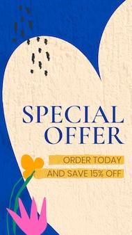 Special offer instagram story template, editable online shopping design vector