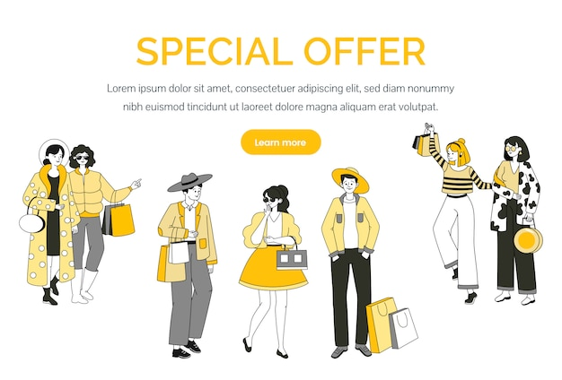 Special offer landing page template. seasonal sale, shopping web banner concept.