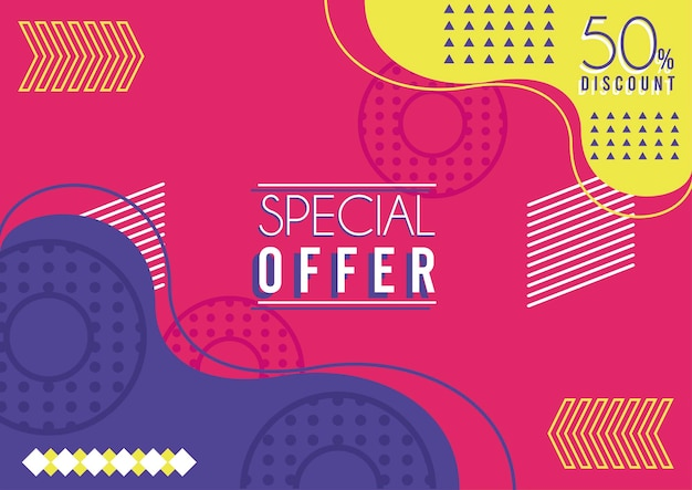 Special offer lettering in mix colors memphis background