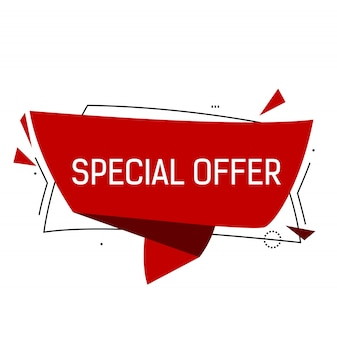 Special offer lettering in red origami speech bubble with triangles.