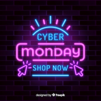 Special offer in neon lights for cyber monday