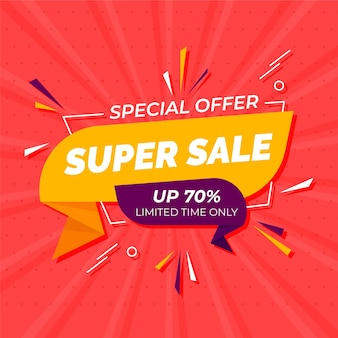 Special offer in origami style banner