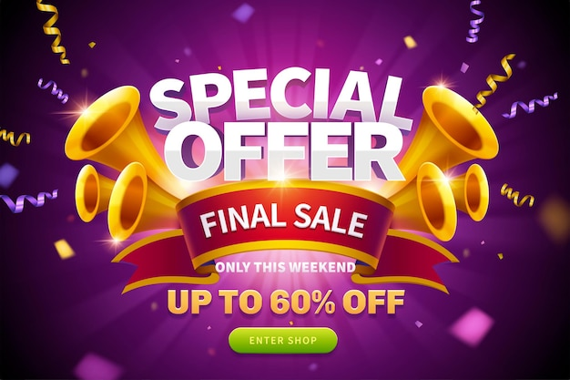 Special offer pop up ad with streamers flying out from trumpets and final sale written on red ribbon