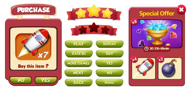 Special offer and purchase menu pop up screen with gems, rocket and bomb