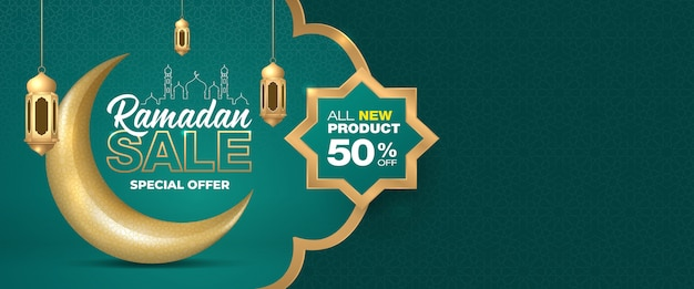 Special offer ramadan sale islamic ornament crescent moon and lanterns banner template.