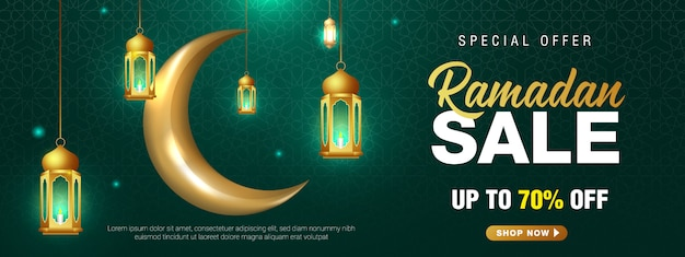 Special offer ramadan sale islamic ornament lantern crescent moon banner template.