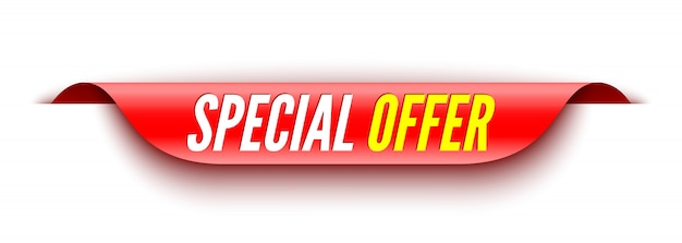 Special offer red banner. sticker.