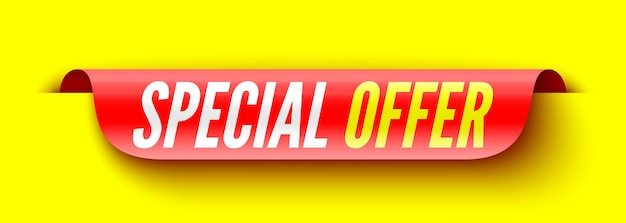 Special offer red banner on yellow. sticker.