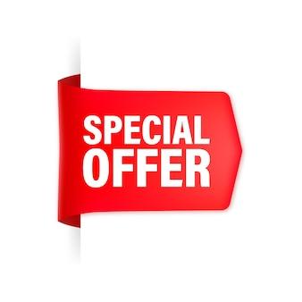 Special offer red ribbon    illustration.