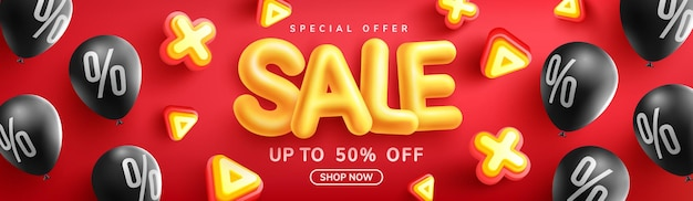 Special offer sale 50 off banner with yellow sale font and black balloons on red