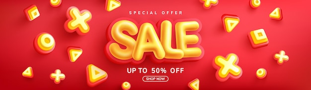 Special offer sale 50% off banner with yellow sale font on red